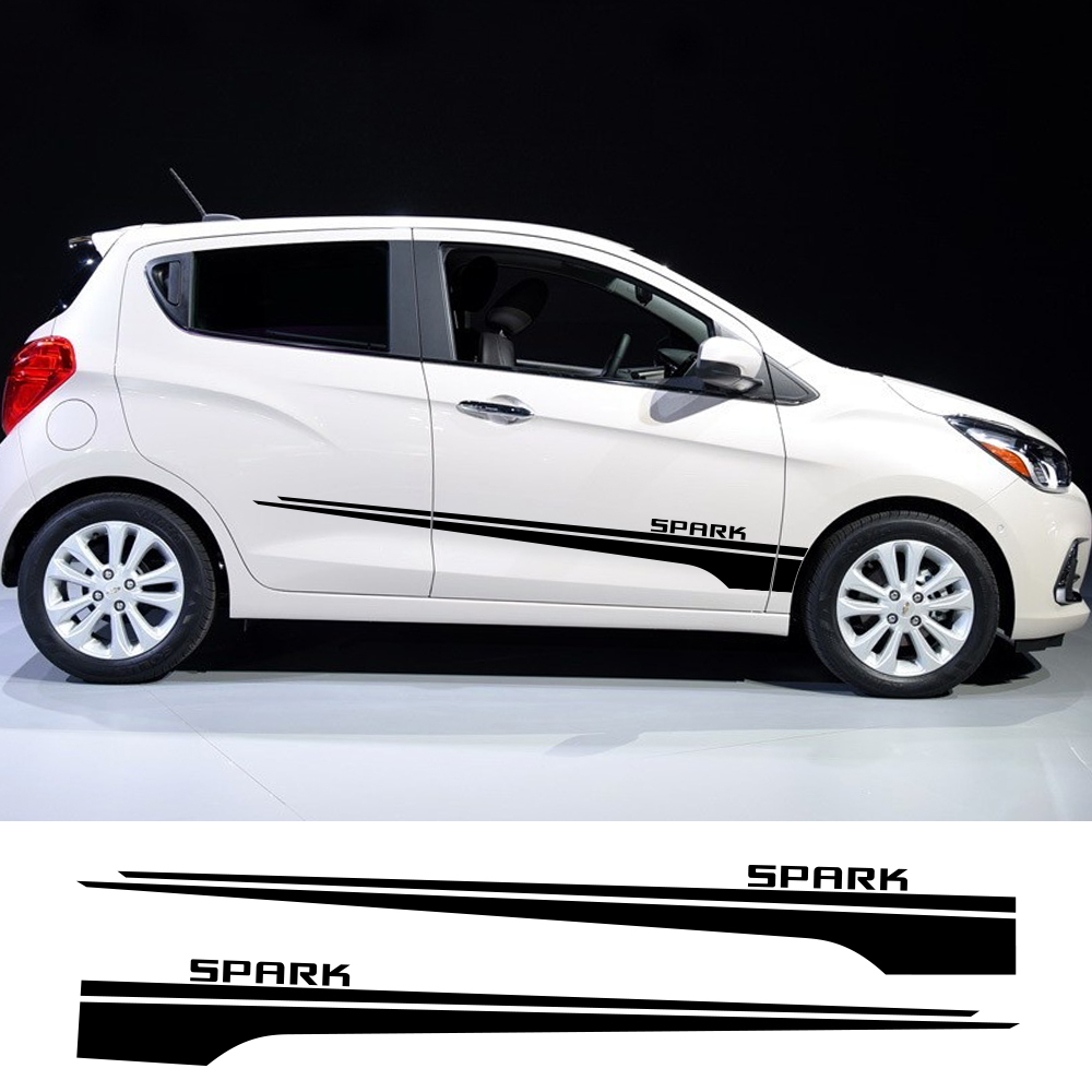 2pcs For Chevrolet Spark Car Stickers Racing Sport Stripes Auto Door Side Skirt Decals Car Styling Body Vinyl Car Accessories