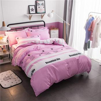 Cat Print Cartoon Pink Bed Cover Set Kid Girl Boy Duvet Cover Adult Child Bed Sheets And Pillowcases Comforter Bedding Set 61053 image