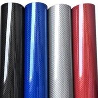 Voiture style haute brillance 5D noir rouge argent bleu fibre de carbone vinyle film en fibre de carbone voiture feuille rouleau film voiture autocollant décalque