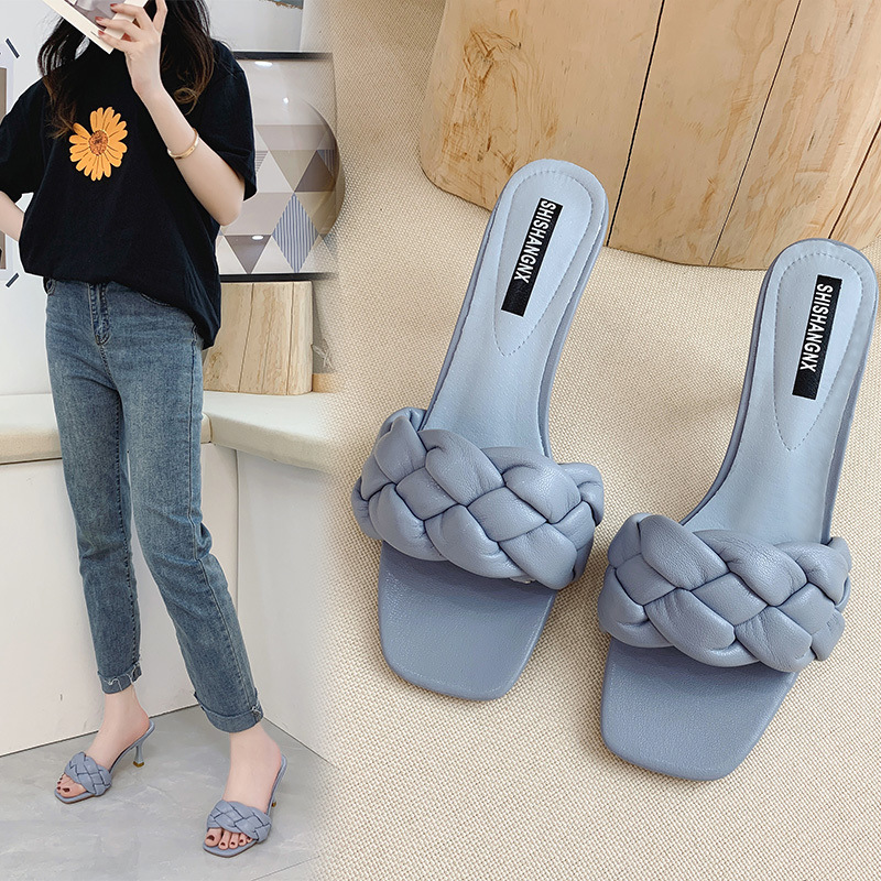 HOKSZVY 2020 Summer  Square Head Woven Casual Wear Slippers Straight Open Toe High Heel Sandals Women's Shoes LXL-025jbF8