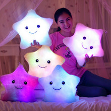 34CM Creative Toy Luminous Pillow Glowing Colorful Stars Cushion Led Light Toys Soft Stuffed Plush Gift for Kids Children Girls