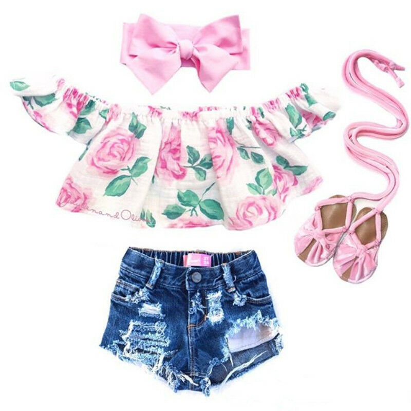Toddler Kids Baby Girl Clothes Off Shoulder Flower Tops Ripped Shorts Outfits