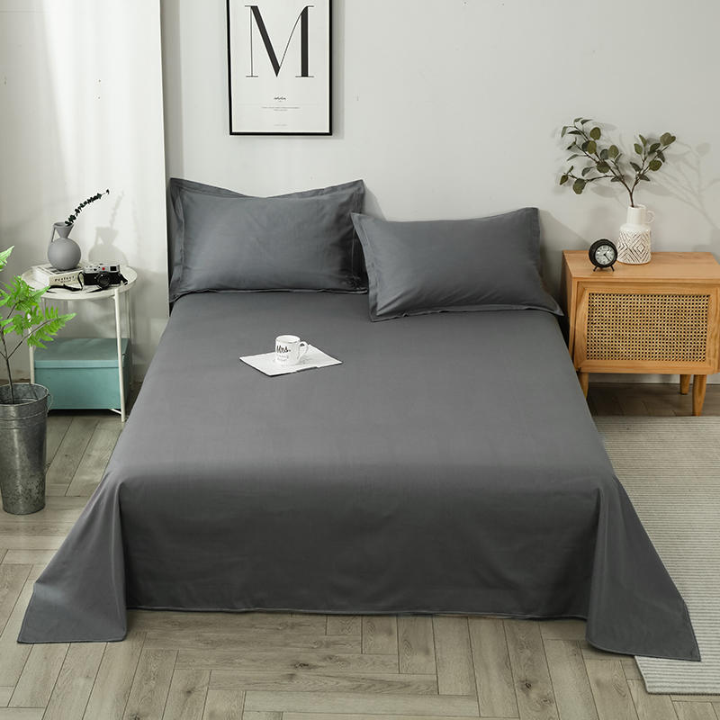 Bonenjoy 1 pc Flat Sheet 100% Pure Cotton Dark Gray Color Bed Sheets For Adult lenzuola matrimoniali High Quality Bed Linens