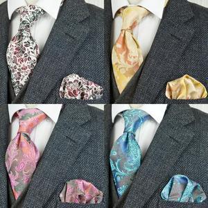 Тканевые Галстуки, цветочные, желтые, синие, розовые, красные, мужские галстуки, 100% шелк, жаккардовые, тканевые, с квадратным карманом, беспла...