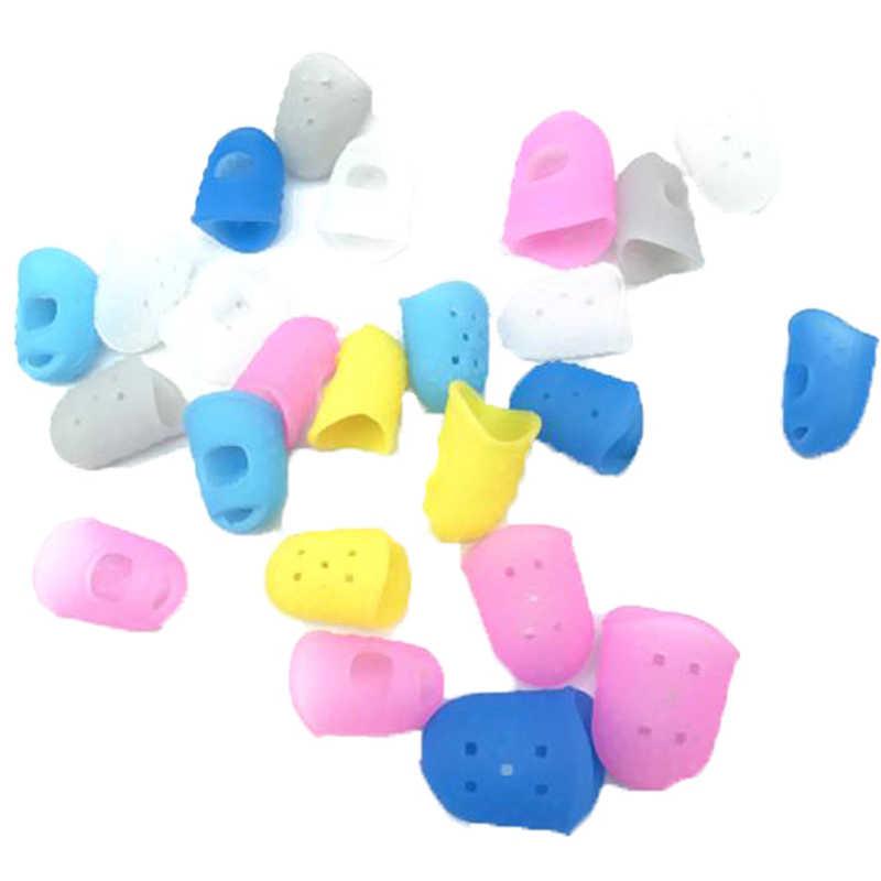 3 größe Anti-schmerzen Silikon Finger Hülse Stricken Werkzeug Multicolor Silikon Fingerhut Spitze Hohl Atmungsaktive Nähen Nadel Zubehör