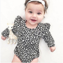 Leopard Print Infant Newborn Clothes Baby Girl Bodysuit Cotton Rompers Long Slee