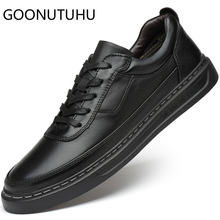 2019 autumn winter fashion mens shoes casual genuine leather male flats sneakers black or white shoe man platform for men