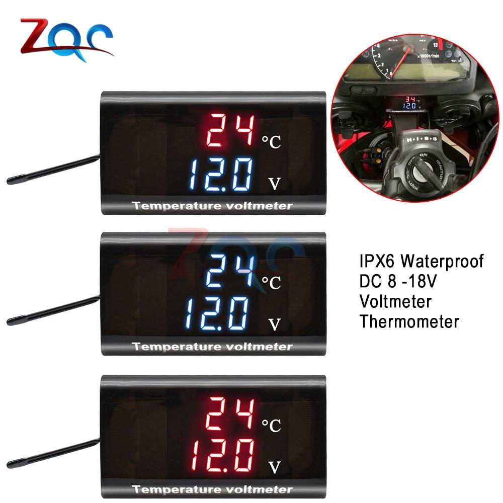 DC 12V Waterproof Temperature Voltage Tester 0.28