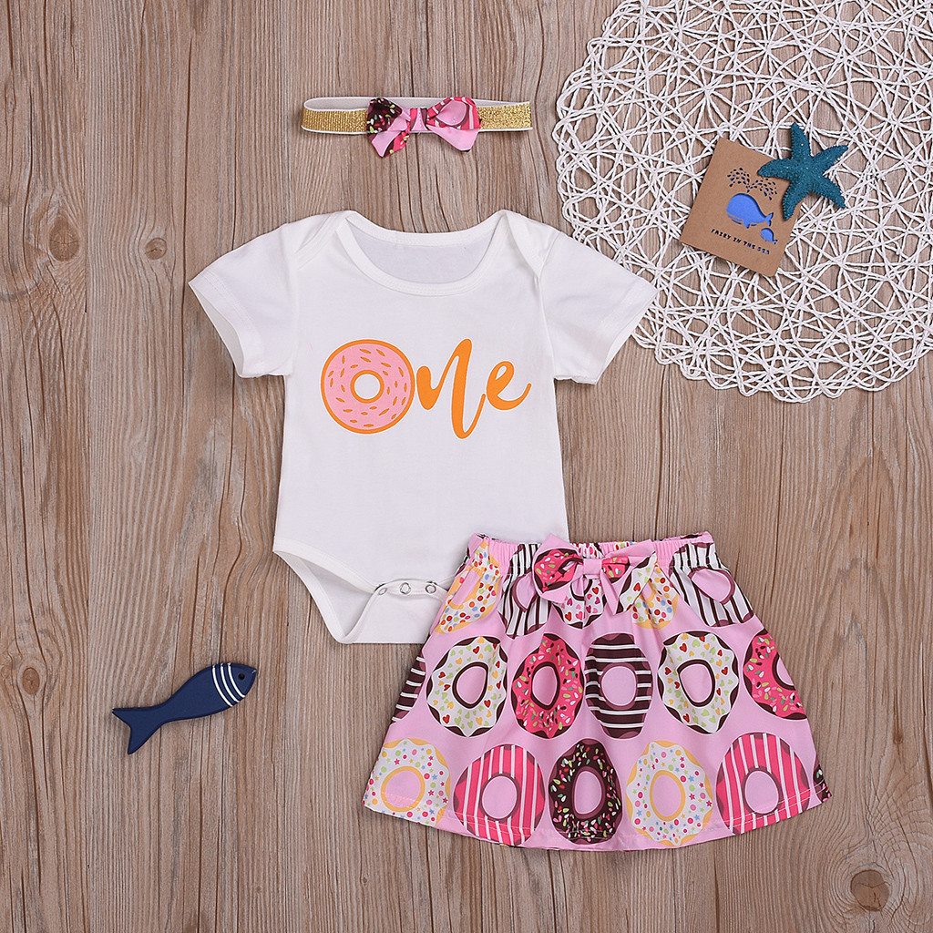 Toddler Baby Girls Bodysuit Short-Sleeve Onesie I Donut Care Print Rompers Summer Pajamas