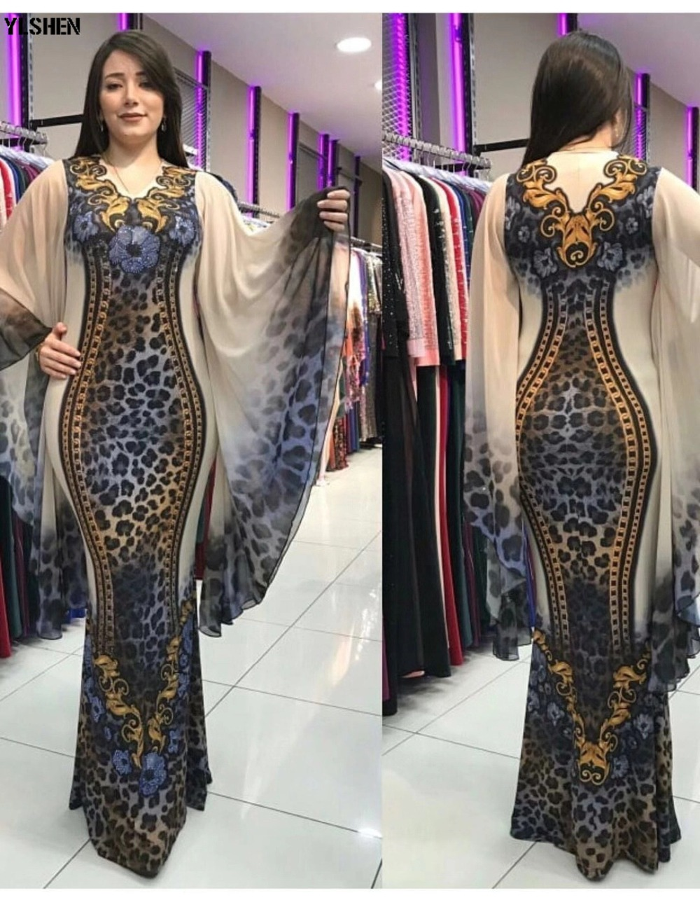New African Dresses for Women Dashiki Print African Clothes Bazin Riche Sexy Slim Ruffle Sleeve Long Party Africa Dress Clothing 01