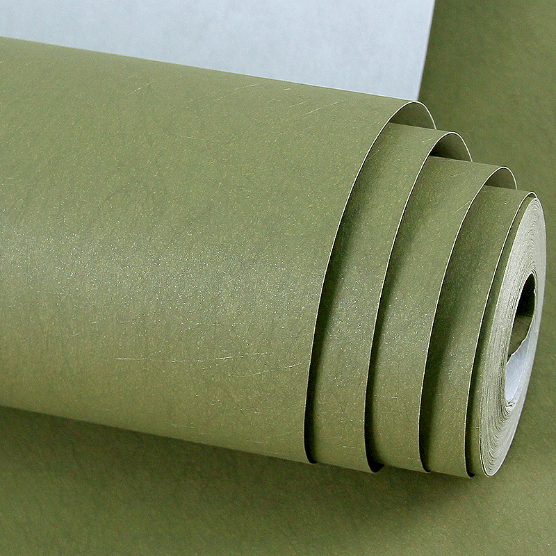 Plain Color Silk Texture Wall Paper Natural Green Solid Color Non-woven Wallpaper Roll Home Decoration