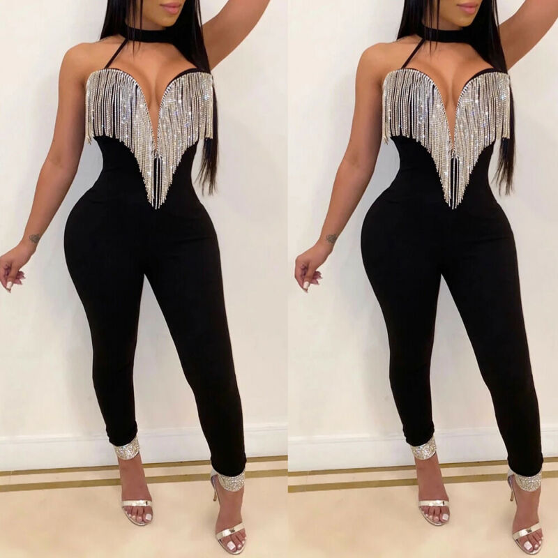 Sexy Women Sequins Tassel Jumpsuit Bodycon Fashion Female Halter V-neck Backless Clubwear Party Pant Trouser