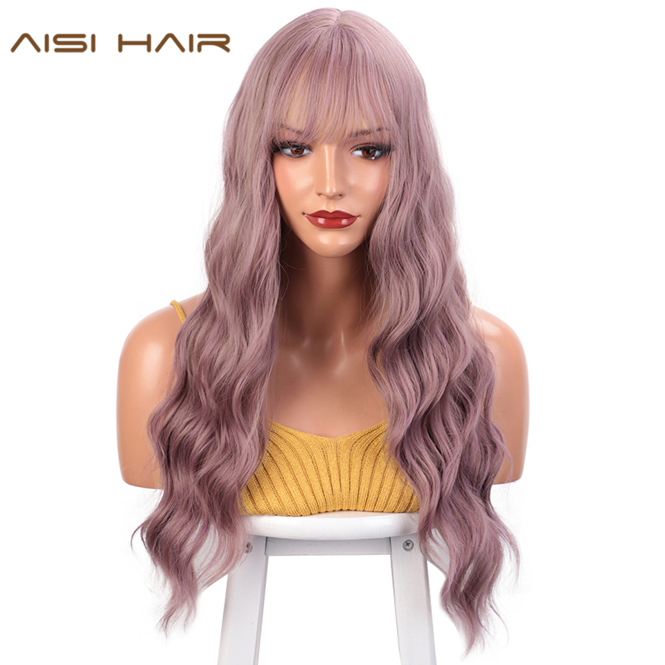 AISI HAIR Long Wavy Synthetic Wigs Mix Purple Womens Wigs With Bangs For Women African American Heat Resistant Hair