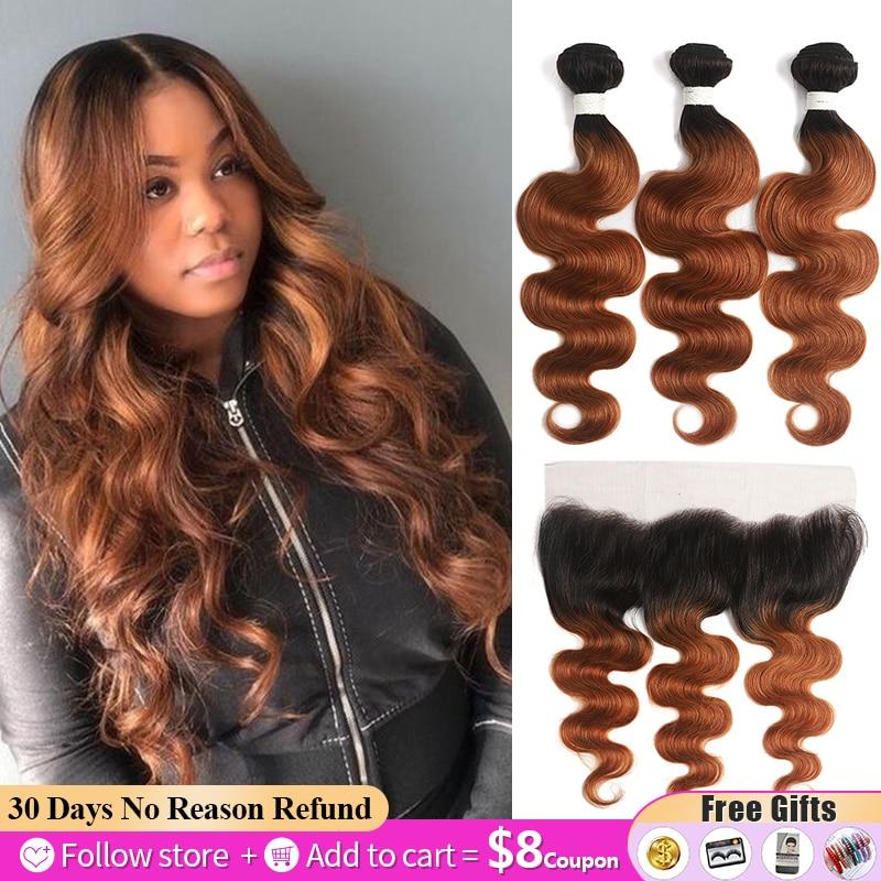 Ombre brown pacotes com frontal 13x4 soku onda do corpo brasileiro feixes de cabelo com fechamento não remy tecer cabelo humano pacotes