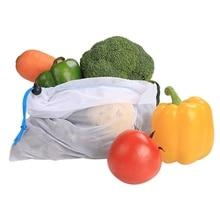 6PCS Reusable Mesh Bag For Supermarket Fruit And Vegetable Storage Shopping Drawstring