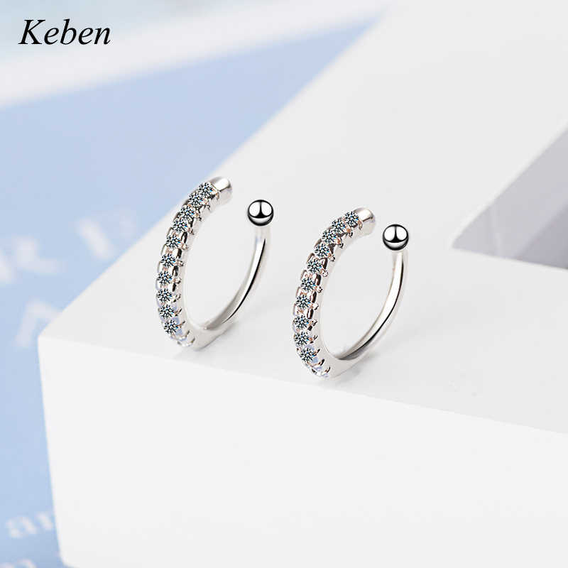 Clip Earrings Earcuff Tasteful Zircon Clip On Earrings For Women 925 Sterling Silver Ear Cuff Jewelry For Girl Fake Piercing