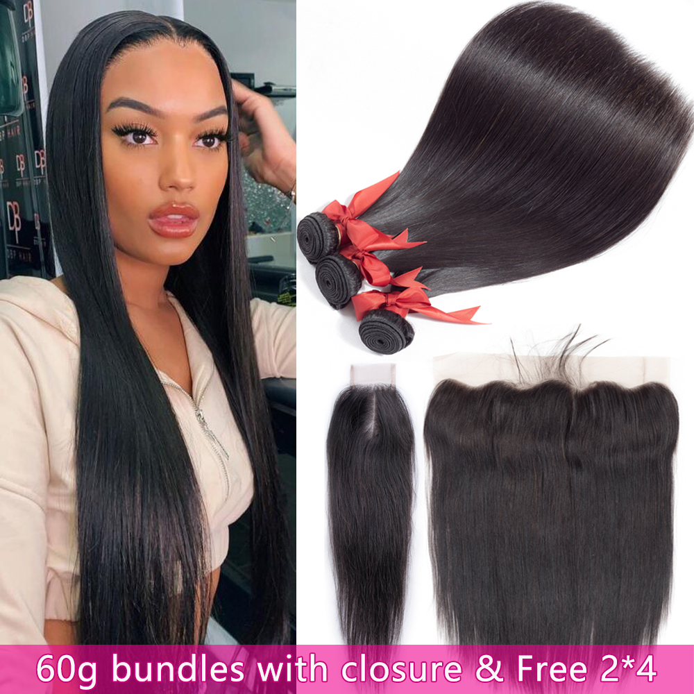 60G Straight Hair Bundles With Frontal 13x4 Ear To Ear Lace Frontal & Free 2*4 Closure Brazilian 100% Remy Human Hair