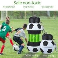 Esportes de futebol garrafa de água dobrável viagens garrafas com silicone para acampar caminhadas esportes|null| |  -