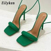 Eilyken cuadradas-Sandalias de tacón alto con correa en el tobillo para mujer, zapatos de fiesta, color verde, 2021
