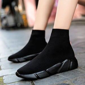 Image 3 - MWY Calcetines elásticos informales para mujer, zapatos deportivos gruesos, calzado de exterior, mocasines planos para mujer