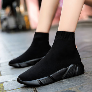 Image 3 - MWY Elastic Casual Socks Shoes Version Of The Thick Sneakers Shoes Outdoor Footwear Woman Flats Female Loafers Chaussure Femme