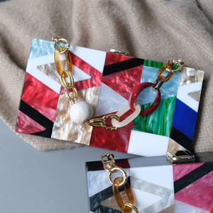 Image 3 - New Women Messenger Bags Brand Fashion Luxury Acrylic Geometric Lattice Patchwork Handbag Party Prom Clutch Woman Evening Bag