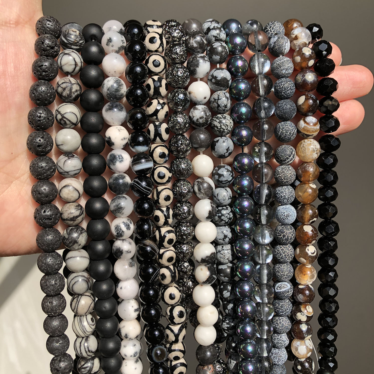 Natural Stone Black Series Gems Beads Obsidian Volcanic Lava Stone Agates Round Loose Beads For Jewelry Making Findings 4-12mm