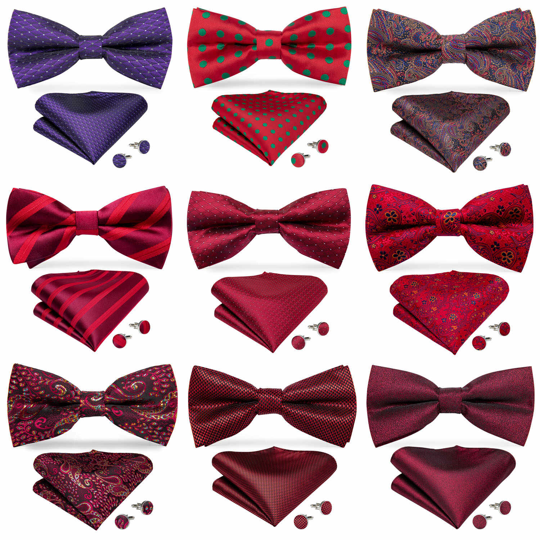 Fashion Stripe Men Bow Tie Set with Cufflinks Pocket Square Party Bowtie Set