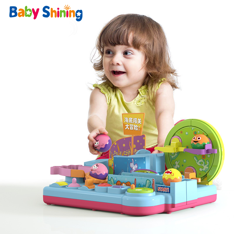 Baby Shining Sea Pass-through Big Adventure Track Toy Railcar Rolling Ball Slide Puzzle Early Educational Toy Boy Girl Car Gift