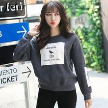 Jielur Autumn Bird Letter Printed Hoodies Harajuku Women Korean Pop Loose Round Neck Fleece Tracksuits Pullover Cool Sweatshirt