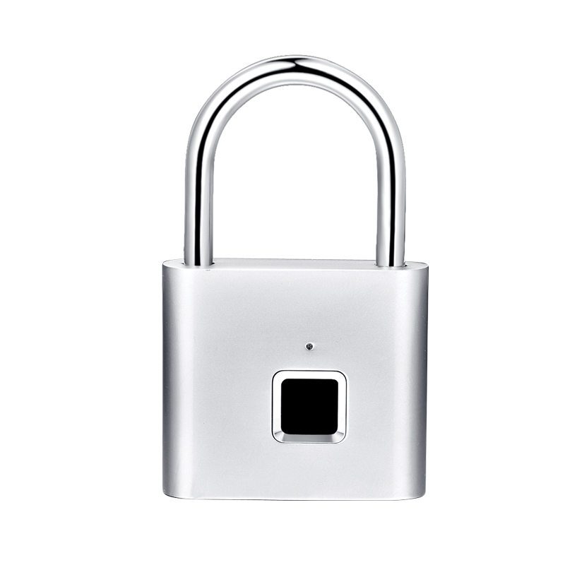 Silver Fingerprint Lock Smart Padlock Thumbprint Door Padlocks Portable Anti-Theft Fingerprint Lock For Bag Drawer Suitcase