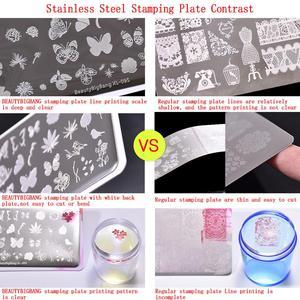 Image 5 - Beautybigbang スタンピングプレートネイルアートジオメトリライン顔画像ステンレス鋼矩形ネイルテンプレートスタンピングプレート XL 087