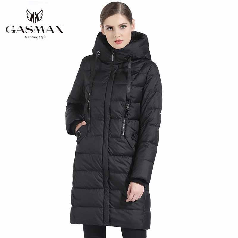 GASMAN 2019 kalın kadınlar biyo aşağı ceket marka uzun kış ceket kadın kapşonlu sıcak Parka moda ceket yeni kadın koleksiyonu 1827
