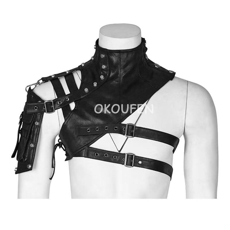 Nightclub Bar Men And Women Armor Leather Half Shoulder Tops Personality Steampunk Leather Armor DS Costumes Stage Performance