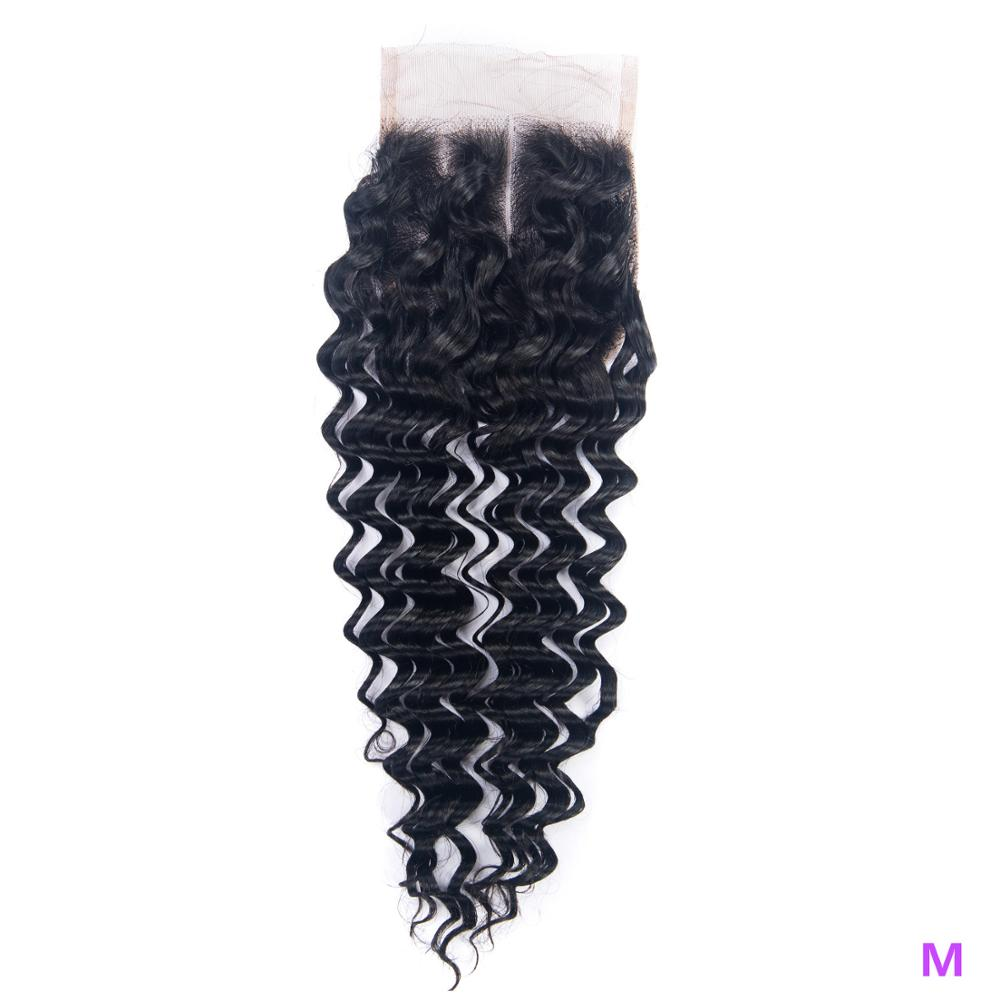 OYM HAIR Deep Wave 4x4 Closure 8-20 Inch Middle Ratio Pre Plucked With Baby Hair Brazilain Non-Remy Hair Swiss Lace Closure