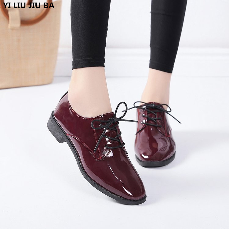 Autumn Winter Women Shoes PU Leather Casual Low Heels Lace Up Comfortable Non-slip Walking Shoes Woman Zapatos De Mujer G775