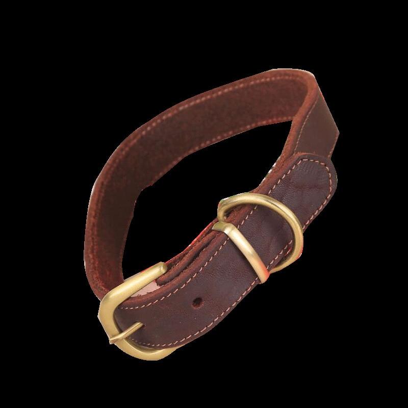 Pet Supplies Dog Neck Ring Genuine Leather Medium Large Dog Genuine Leather Collar Cattle Hide Flat Neck Band