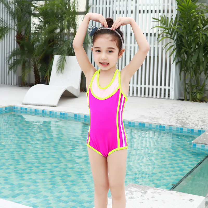 2018 New Style KID'S Swimwear Women's Children Girls 1-9-Year-Old Hipster Rose-red Industry Triangular One-piece Swimming Suit