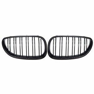 Image 5 - 2 pçs linha dupla grelhas de rim apto para bmw série 5 m5 sedan e60/e61 2003 2010 grills dianteiros brilho/fosco