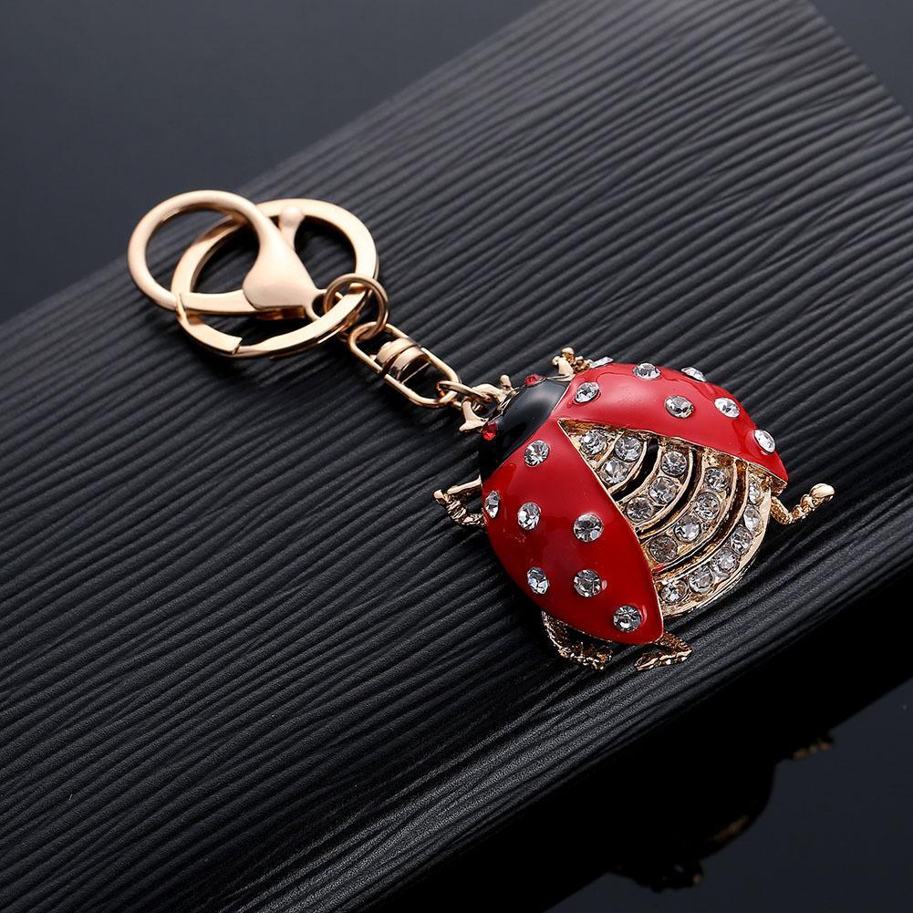 Cute Ladybug Pendant Key Chain Rhinestone Hangings Ring Bag Phone Decor Gift
