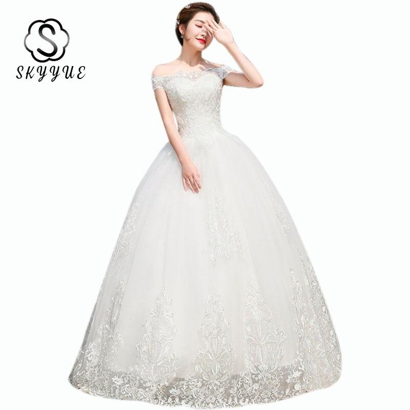 Wedding Gowns Skyyue ER675 Plus Size Boat Neck Vestidos De Novia Lace Wedding Dresses Off Shoulder Long Wedding Dress