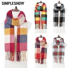 Модный зимний шарф для мужчин и женщин, шарф с кисточками в клетку, Женская шаль, вязаный зимний теплый шарф унисекс, длинный женский шарф