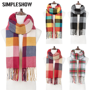 Fashion Men Women Winter Scarf Check Tassel Scarf Ladies Shawl Unisex Knitted Winter Warm Scarf Long Focald Femme(China)