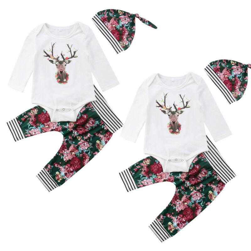 callm Toddler Baby Girls Dresses Christmas Xmas Deers Print Dresses Pants Outfit Set