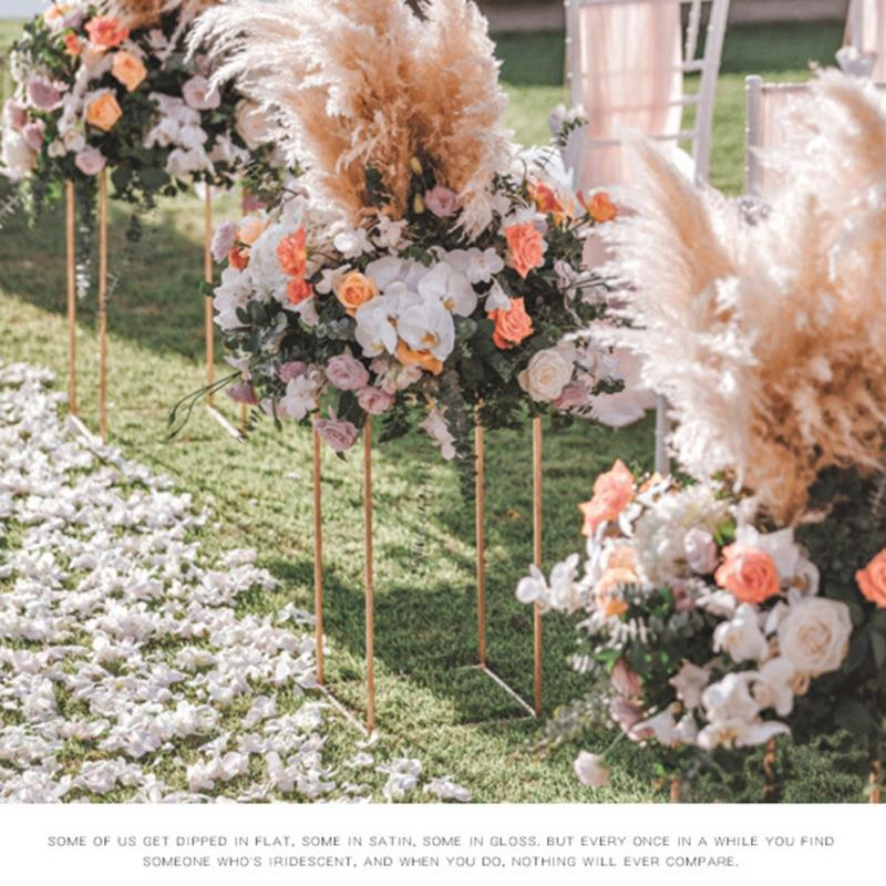 wedding : 2pcs Detachable Iron Art Party Geometric Flower Rack Floor Vase Column Stand Event Decoration Rustproof Prop Wedding Centerpiece