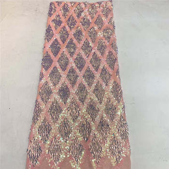 Latest High Quality African beads sequins Tulle Lace Fabric Peach French Lace Fabric For Wedding Nigerian Lace Material