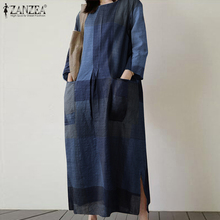 ZANZEA Autumn Vintage Plaid Checked Sundress Women Dress Cas