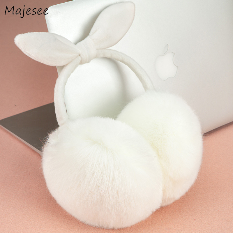 Earmuffs Women Simple Classic Faux Fur Rabbit Cute Sweet Pink Girls Student Harajuku Korean Style All-match Causal Soft Womens