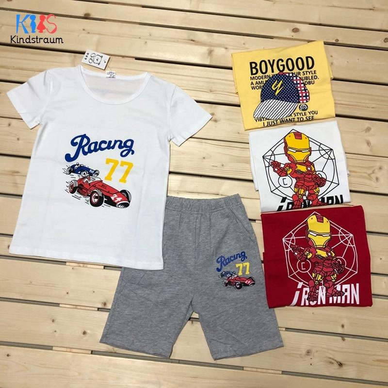 2020 Boys Clothing set Children Summer Boys Clothes Cartoon Print Iron Man Kids Girls Clothing Set T-shit+Shorts Cotton DC236