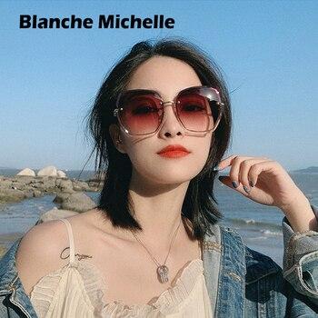 Fashion Oversized Sunglasses Women 2020 UV400 Designer Rimless Square Sun Glasses Woman Vintage  gafas de sol oculos With Box 1